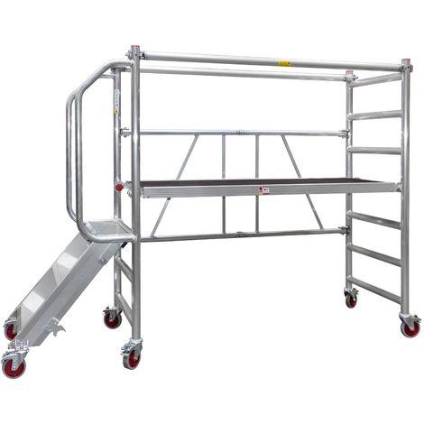 Jumbo® Aluminium Falt-Gerüst Klapp-Gerüst fahrbar Arbeits-Bühne faltbar klappbar Plattform-Höhe 0,5 - 1,0m mit Treppe