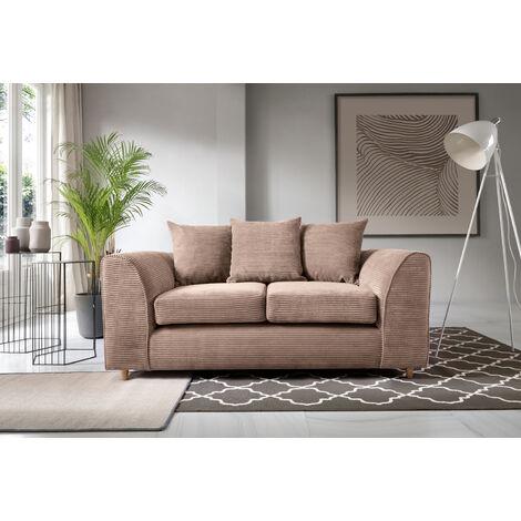 Jumbo Cord 2 Seater Sofa - Brown - color Brown