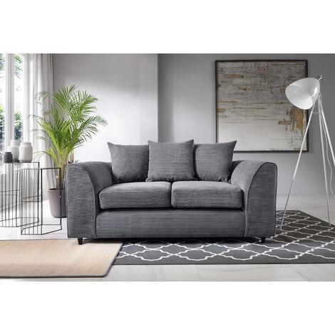 Jumbo Cord 2 Seater Sofa - Grey - color Grey
