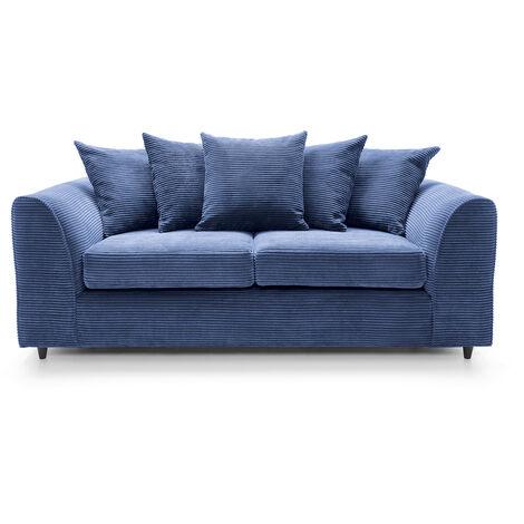 Jumbo Cord 3 Seater Sofa - color Blue