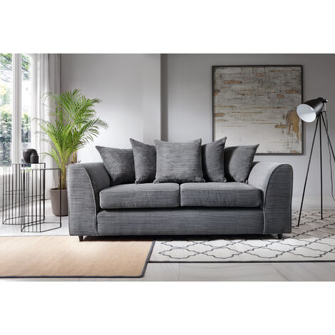 Jumbo Cord 3 Seater Sofa - Grey - color Grey
