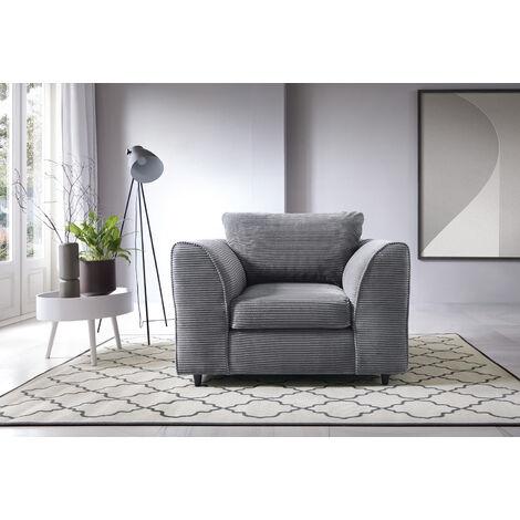 Jumbo Cord Armchair - Grey - color Grey