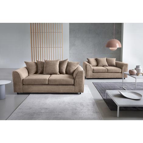 Jumbo Cord Brown 3+2 Sofa Set - color Brown