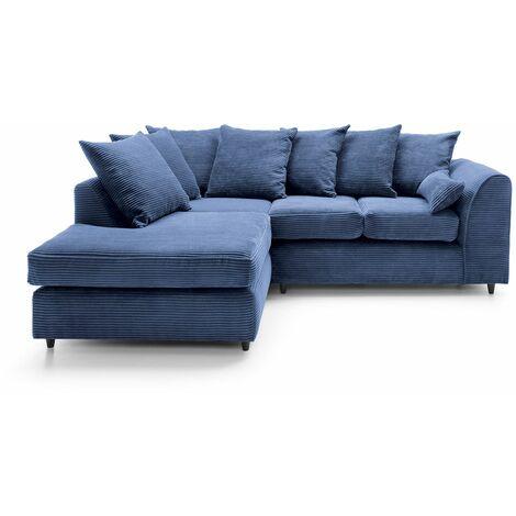 Jumbo Cord Corner Sofa - color Blue