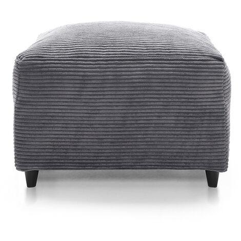 Jumbo Cord Footstool Grey - color Grey