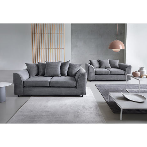 "main image of ""Jumbo Cord Grey 3+2 Sofa Set - color Grey"""