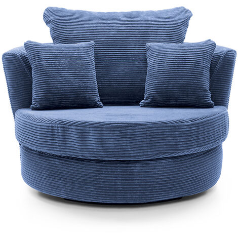 Jumbo Cord Swivel Chair - color Blue
