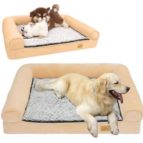 Jumbo Memory Foam Dog Bed Pet Cuddler Couch Lounge Waterproof Washable Cover - Size M