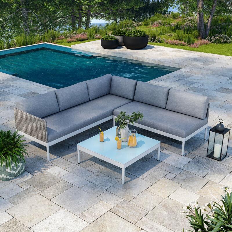 Salon de jardin d'angle raffiné en aluminium blanc et résine tressée gris - JUN - Gris