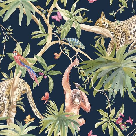 Jungle Animals Wallpaper Tropical Leopard Butterflies Birds Floral Trees Navy