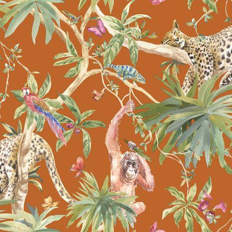 Jungle Animals Wallpaper Tropical Leopard Butterflies Birds Floral Trees Orange