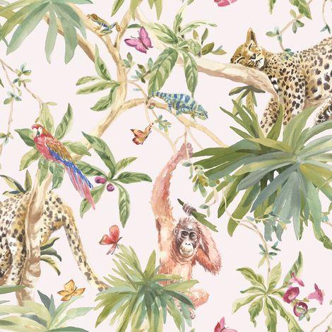 Jungle Animals Wallpaper Tropical Leopard Butterflies Birds Floral Trees Pink