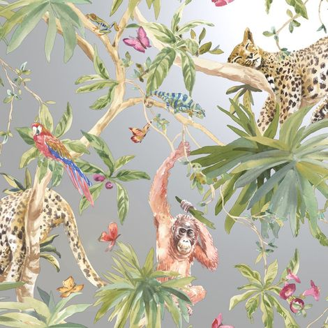"""main image of """"Jungle Animals Wallpaper Tropical Leopard Butterflies Birds Floral Trees Silver"""""""
