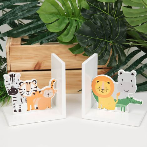 Jungle Baby Wooden Character Bookends