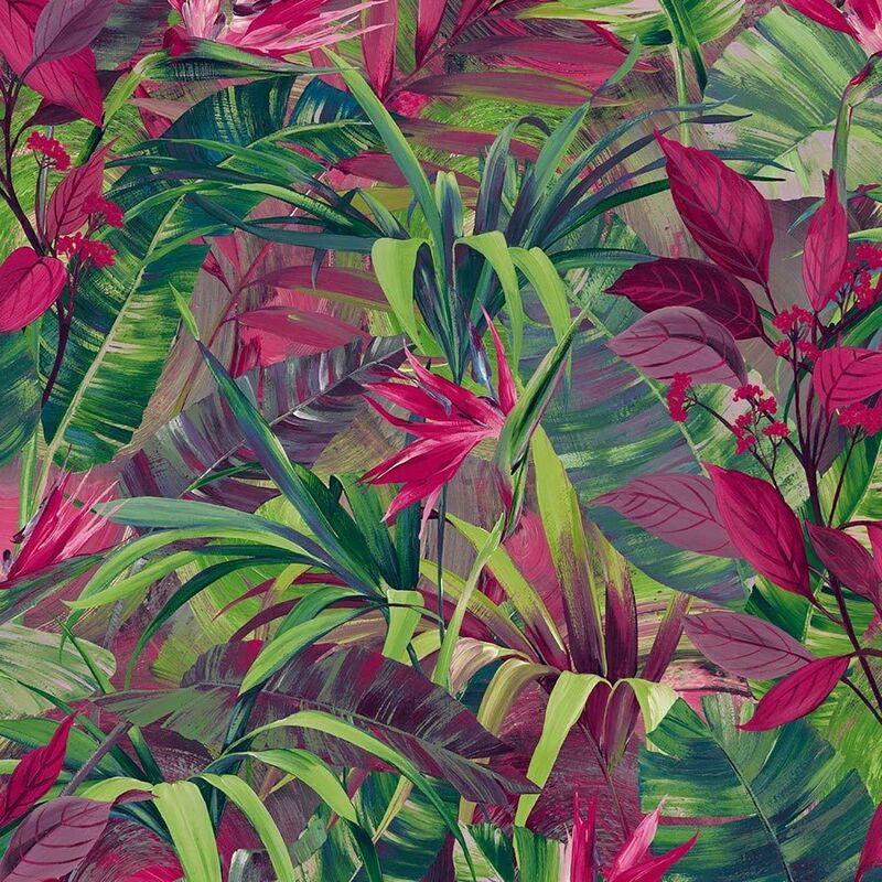 Image of Jungle Fever Wallpaper Grandeco Paste The Wall Vinyl Pink Green Tropical Leaf
