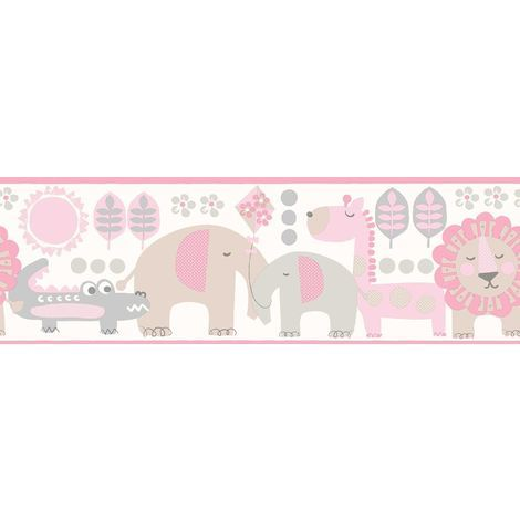 Jungle Friends Carousel Wallpaper Border Animals Lion Elephant Fun 4 Walls Pink