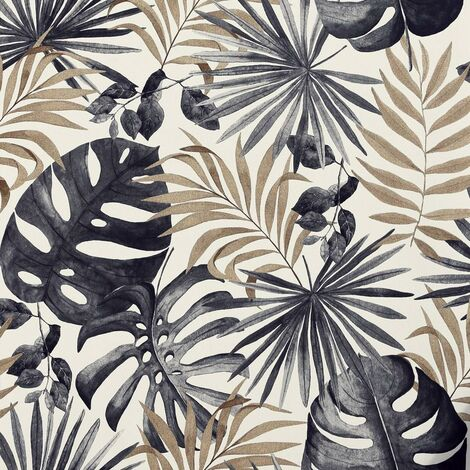Jungle Wall Wallpaper Palm Leaves Tropical Leaf Black Gold Foil Metallic Textured Vinyl