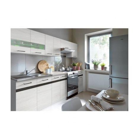 junona cuisine complete avec eclairage led et plan de travail 2m40 decor bois blanc. Black Bedroom Furniture Sets. Home Design Ideas