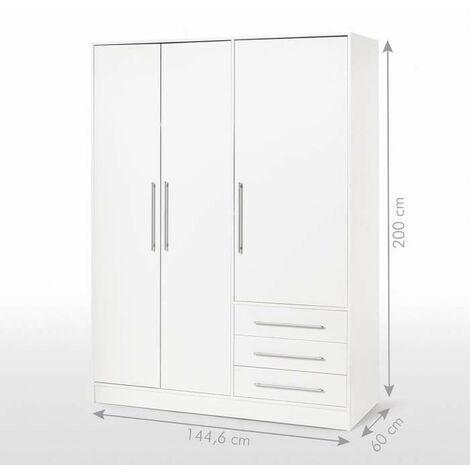 JUPITER Armoire de chambre style contemporain en bois aggloméré blanc - L 144,6 cm