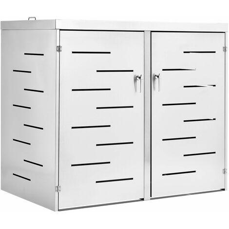Juskys 2er Edelstahl Mülltonnenbox Arel mit Schiebedach & verschließbaren Türen