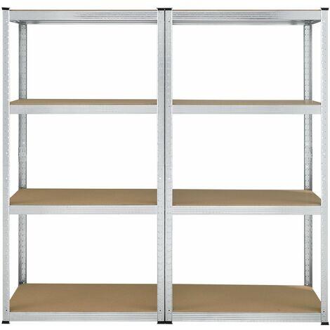 Lagerregal Easy 2er Set - Schwerlastregal 160x80x40 cm | 8 Böden | 640 kg | Metall verzinkt | Steckregal Kellerregal Metallregal | Juskys