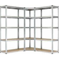 Juskys 3er Metall Regalsystem | 1 Eckregal & 2 Lagerregale | 15 Böden aus MDF Holz | 2625 kg | Schwerlastregal Steckregal Lagerregal Wandregal