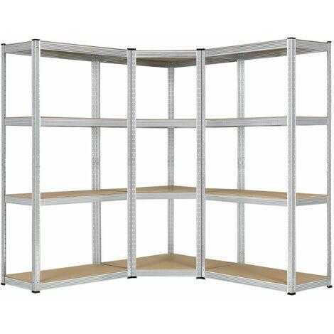 Juskys 3er Metall Regalsystem Easy | 1 Eckregal & 2 Lagerregale | 12 MDF Holz Böden | 960 kg | verzinkt | Stecksystem | Schwerlastregal Steckregal