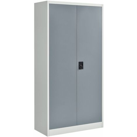 Juskys Aktenschrank Office 180x90 2-farbig mit 2 Türen aus Metall