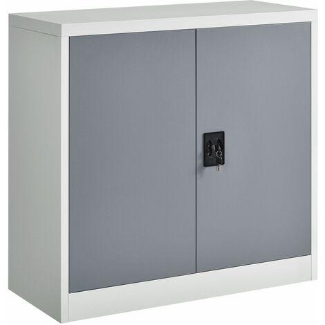 Juskys Aktenschrank Office 90x90 2-farbig mit 2 Türen aus Metall