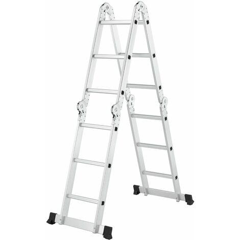 Aluminium Multifunktionsleiter 3x4 Stufen - 3,6 m Länge klappbar – Leiter 4-teilig bis 150 kg - Gelenkleiter Klappleiter Stehleiter Aluleiter | Juskys