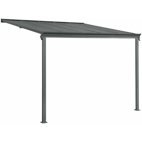 Juskys Aluminium Terrassendach Borneo verschiedene Größen mit Doppelsteg-Platten in dunkelgrau oder weiß