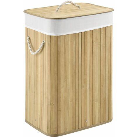 Bambus Wäschekorb Curly mit Deckel – Wäschesammler 72 Liter – Stoff Wäschesack herausnehmbar & waschbar – Wäschetonne mit Griffen – natur | Juskys