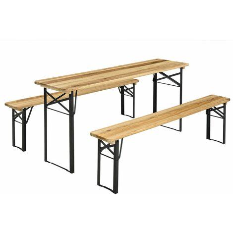 Juskys Bierzeltgarnitur Bichl 3-teilig klappbar - Gartenmöbel-Set aus 1 Biertisch + 2 Bierbänke – Festzeltgarnitur Biertischgarnitur Holz Metall