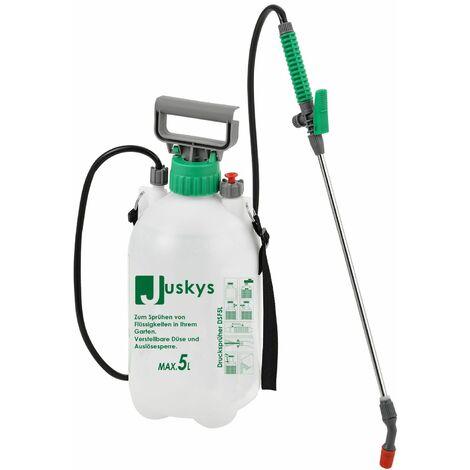 Juskys Drucksprüher DSF5L 5 Liter Kunststoff – Drucksprühgerät inkl. Schlauch, Schultergurt, Pumphebel & Füllstandsanzeige – Pumpsprüher