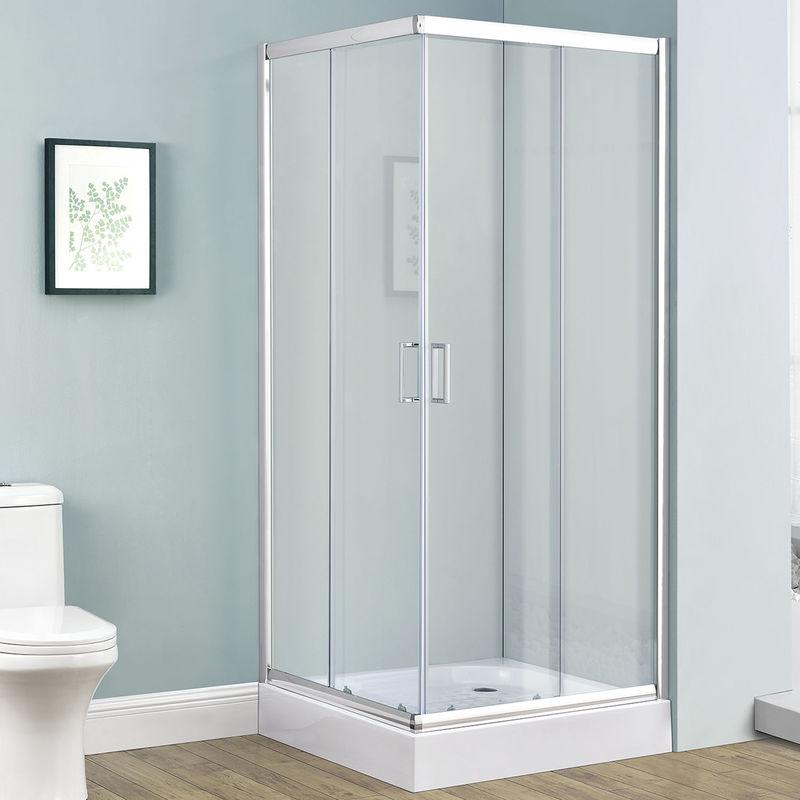 Juskys Duschkabine Duschabtrennung Braga 80 x 80 cm Alu-Echtglas mit  Eckeinstieg & Schiebetüren