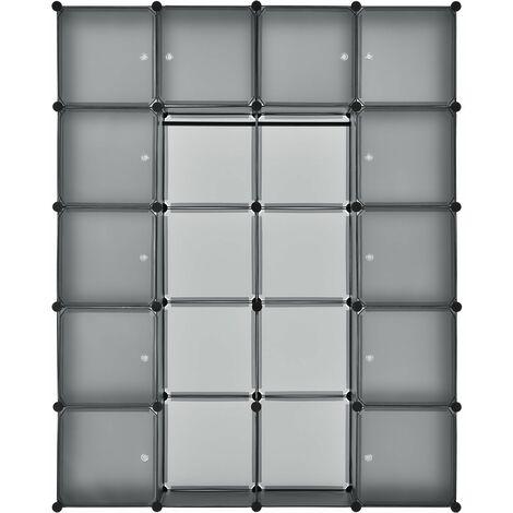 Juskys Garderobenschrank Kleiderschrank aus 12 oder 20 variablen Boxen in grau schwarz weiß pink