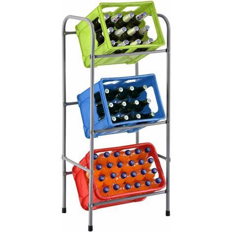 Juskys Getränkekistenregal Cool für 3 Kisten | Metall | 3 Ebenen | 50 × 34 × 116 cm | Getränkeregal Kistenregal Getränkekistenhalter Kastenregal