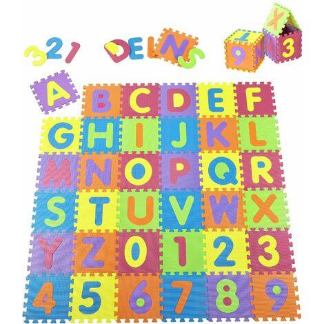 Juskys Kinder Puzzlematte 36 -teilig A bis Z und 0 bis 9