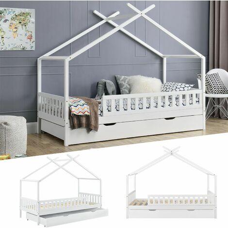 Juskys Kinderbett Tipi mit Bettkasten und Lattenrost   90 x 200 cm   weiß   Dach-Gestell für Himmel   Bett Hausbett