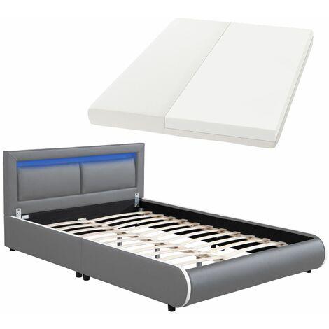 Juskys LED Polsterbett Murcia 140 x 200 cm Komplett-Set mit Matratze, Lattenrost, Kopfteil – Kunstleder Bett Einzelbett – massiv, modern & grau