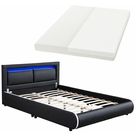 Juskys LED Polsterbett Murcia 140 x 200 cm Komplett-Set mit Matratze, Lattenrost, Kopfteil – Kunstleder Bett Einzelbett – massiv, modern & schwarz