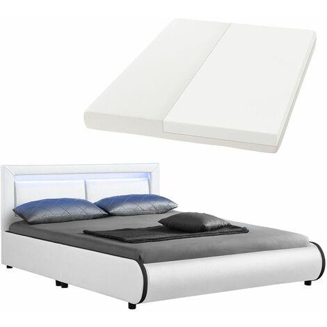 Juskys LED Polsterbett Murcia 140 x 200 cm Komplett-Set mit Matratze, Lattenrost, Kopfteil – Kunstleder Bett Einzelbett – massiv, modern & weiß