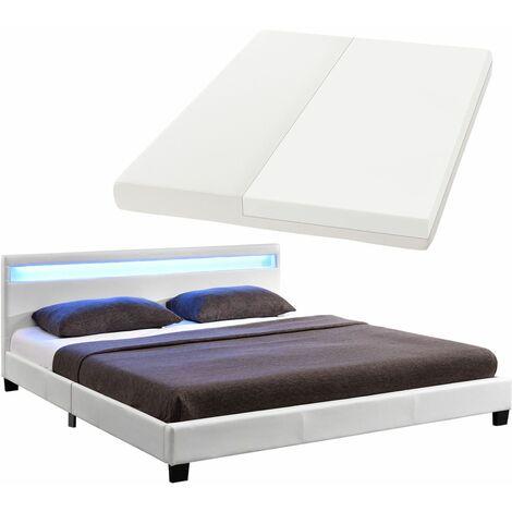 Juskys LED Polsterbett Paris 140 × 200 cm mit Matratze und Lattenrost – Kunstleder & Holz Gestell – weiß – modern & stabil – Einzelbett Jugendbett