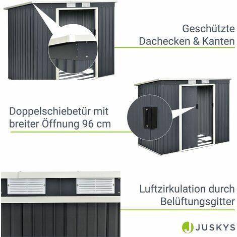 Juskys Metall Geräteschuppen Gerätehaus mit Satteldach oder Pultdach in anthrazit oder dunkelgrün