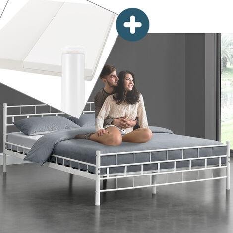 Juskys Metallbett Malta 140 x 200 cm weiß – Komplett Set mit Matratze - Bett mit Lattenrost und Kaltschaummatratze – modern & massiv – große Liegefläche
