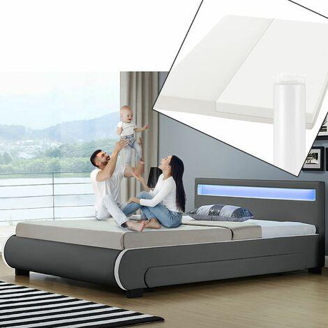 Juskys Polsterbett Bilbao 140x200 cm mit Matratze – Bett inkl. Bettkästen, LED-Beleuchtung & Lattenrost – Bettgestell Holz und Kunstleder – grau