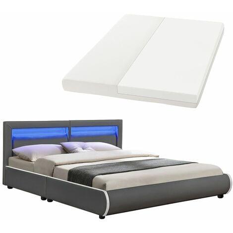 Juskys Polsterbett Murcia 180x200 cm Komplett-Set mit Matratze, Lattenrost, LED-Licht, Kopfteil – Kunstleder Bett Doppelbett – massiv, modern & grau