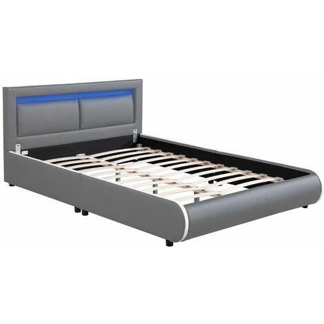 Juskys Polsterbett Murcia – Bett mit LED, Lattenrost, Kopfteil & Kunstleder – Bettgestell gepolstert, gemütlich & modern – 180 x 200 cm, weiß
