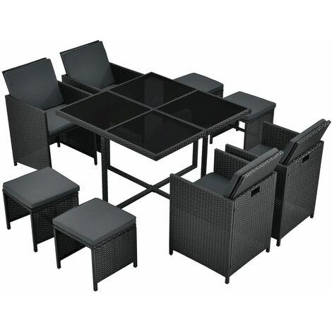 Juskys Polyrattan Sitzgruppe Baracoa L 9-teilig – Gartenmöbel Set mit 4 x Stühle, 4 Hocker & Tisch für Garten & Terrasse – wetterfest & stapelbar
