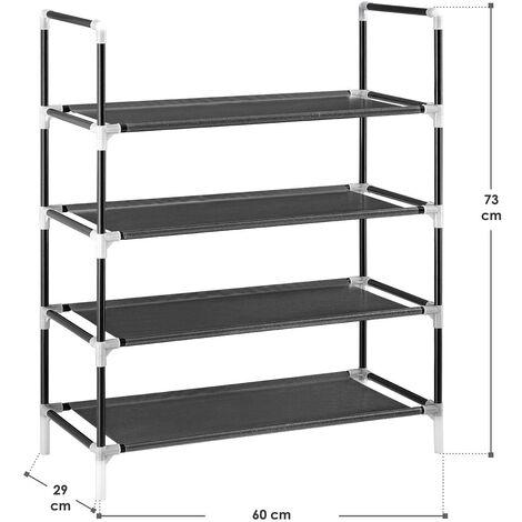 Juskys Schuhregal Marino mit mehreren Ebenen | Metall | schwarz | Schuhschrank Schuhablage Schuhaufbewahrung Steckregal
